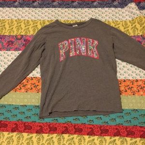 Grey Sequin Brand PINK Sweater!
